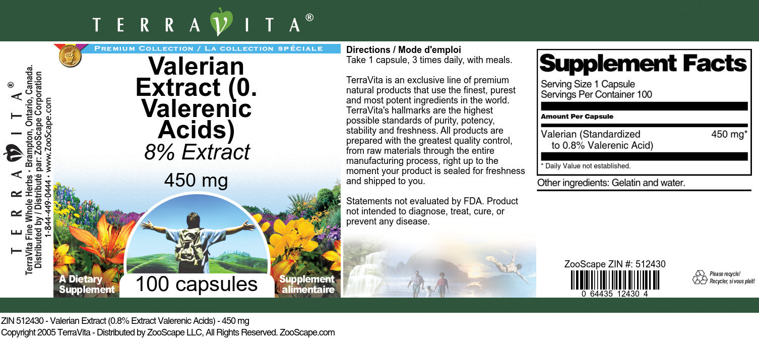 Valerian Extract (0.8% Valerenic Acids) - 450 mg