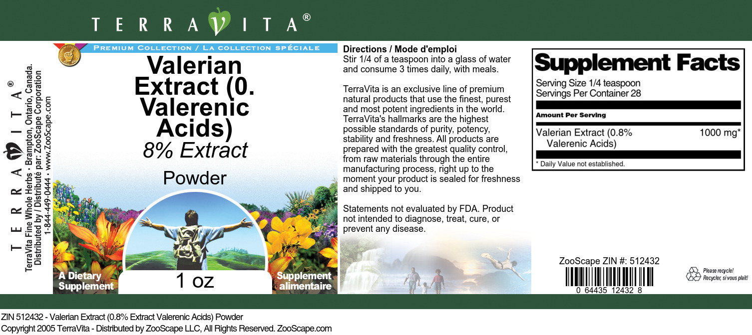 Valerian Extract (0.8% Valerenic Acids) Powder