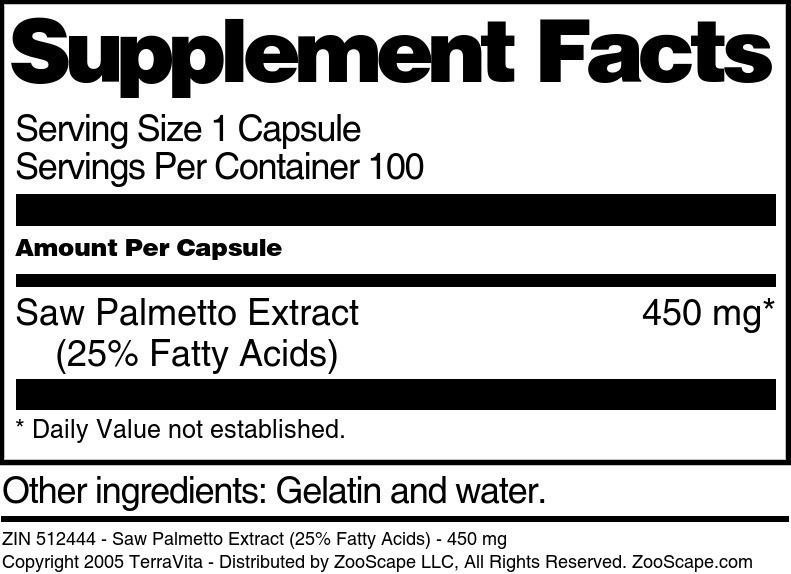Saw Palmetto Extract (25% Fatty Acids) - 450 mg