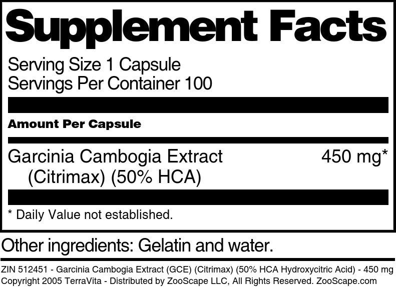 Garcinia Cambogia Extract (GCE) (Citrimax) (50% HCA Hydroxycitric Acid) - 450 mg
