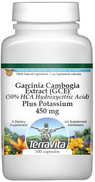 Garcinia Cambogia Extract (GCE) (50% HCA Hydroxycitric Acid) Plus Potassium - 450 mg