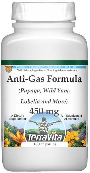 Anti-Gas Formula - Papaya, Wild Yam, Lobelia and More - 450 mg