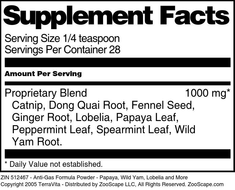 Anti-Gas Formula Powder - Papaya, Wild Yam, Lobelia and More