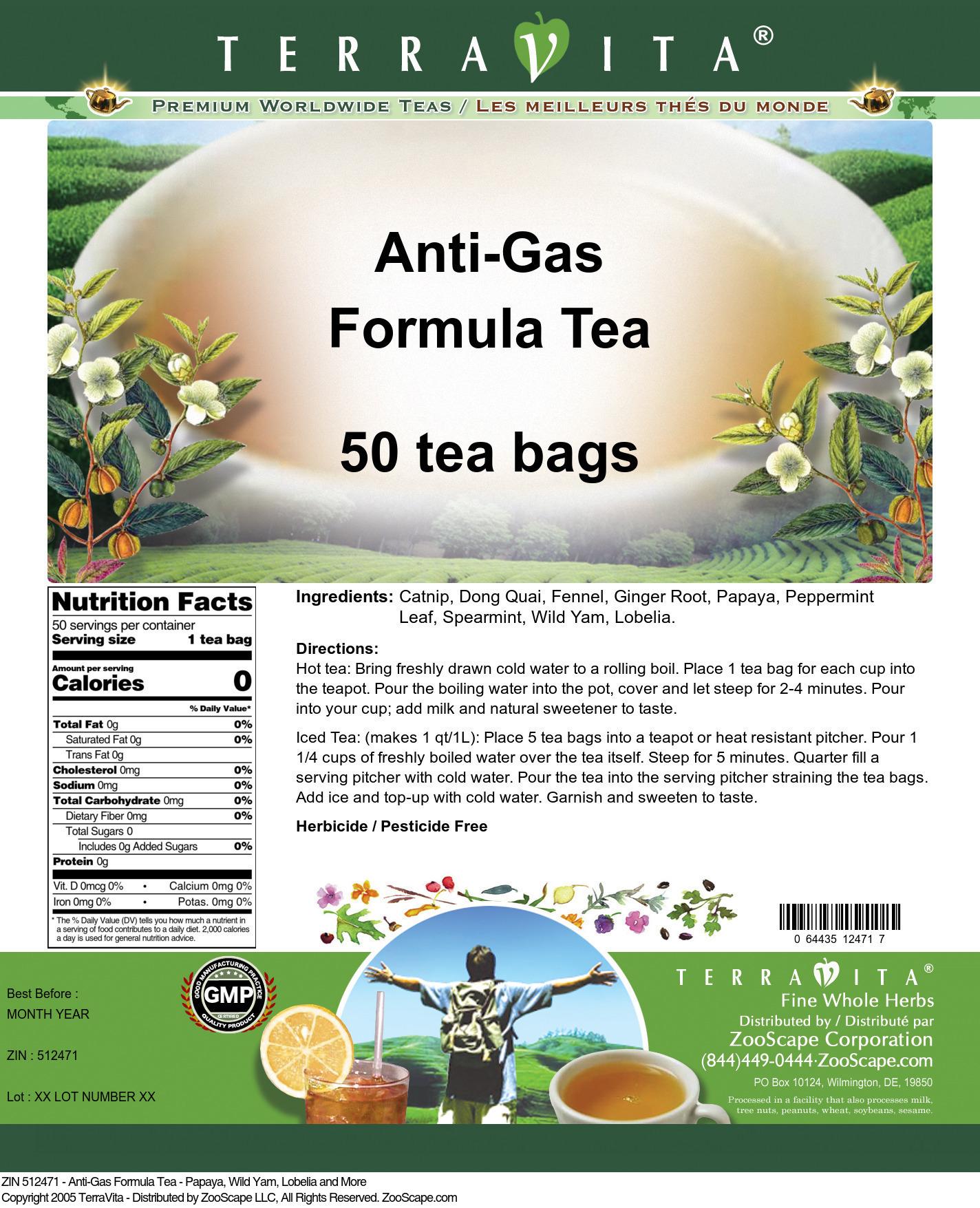 Anti-Gas Formula Tea - Papaya, Wild Yam, Lobelia and More