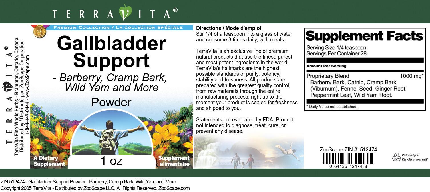 Gallbladder Support Powder - Barberry, Cramp Bark, Wild Yam and More