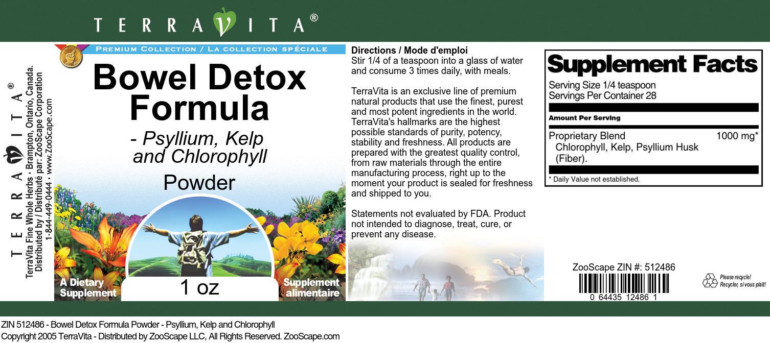Bowel Detox Formula Powder - Psyllium, Kelp and Chlorophyll