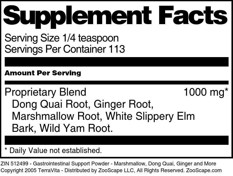 Gastrointestinal Support Powder - Marshmallow, Dong Quai, Ginger and More