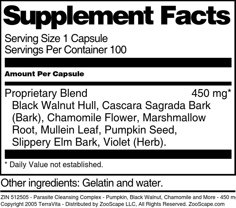 Parasite Cleansing Complex - Pumpkin, Black Walnut, Chamomile and More - 450 mg