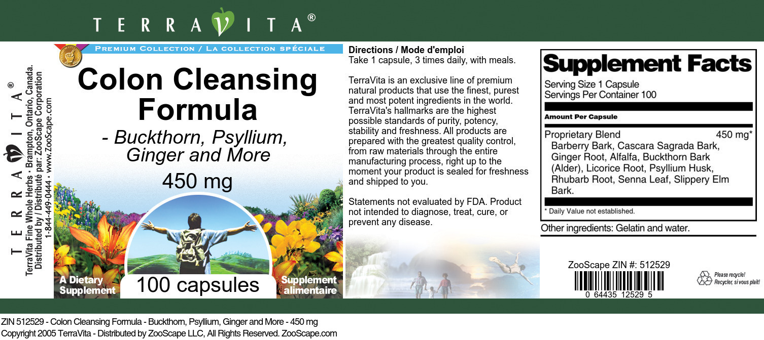 Colon Cleansing Formula - Buckthorn, Psyllium, Ginger and More - 450 mg
