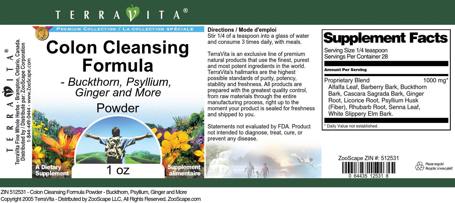 Colon Cleansing Formula Powder - Buckthorn, Psyllium, Ginger and More