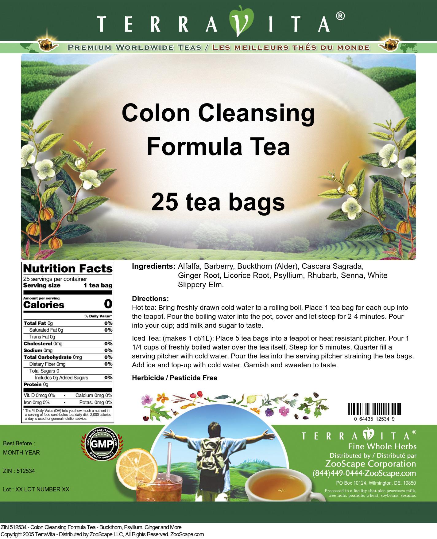 Colon Cleansing Formula Tea - Buckthorn, Psyllium, Ginger and More
