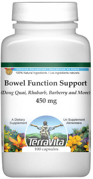 Bowel Function Support - Dong Quai, Rhubarb, Barberry and More - 450 mg