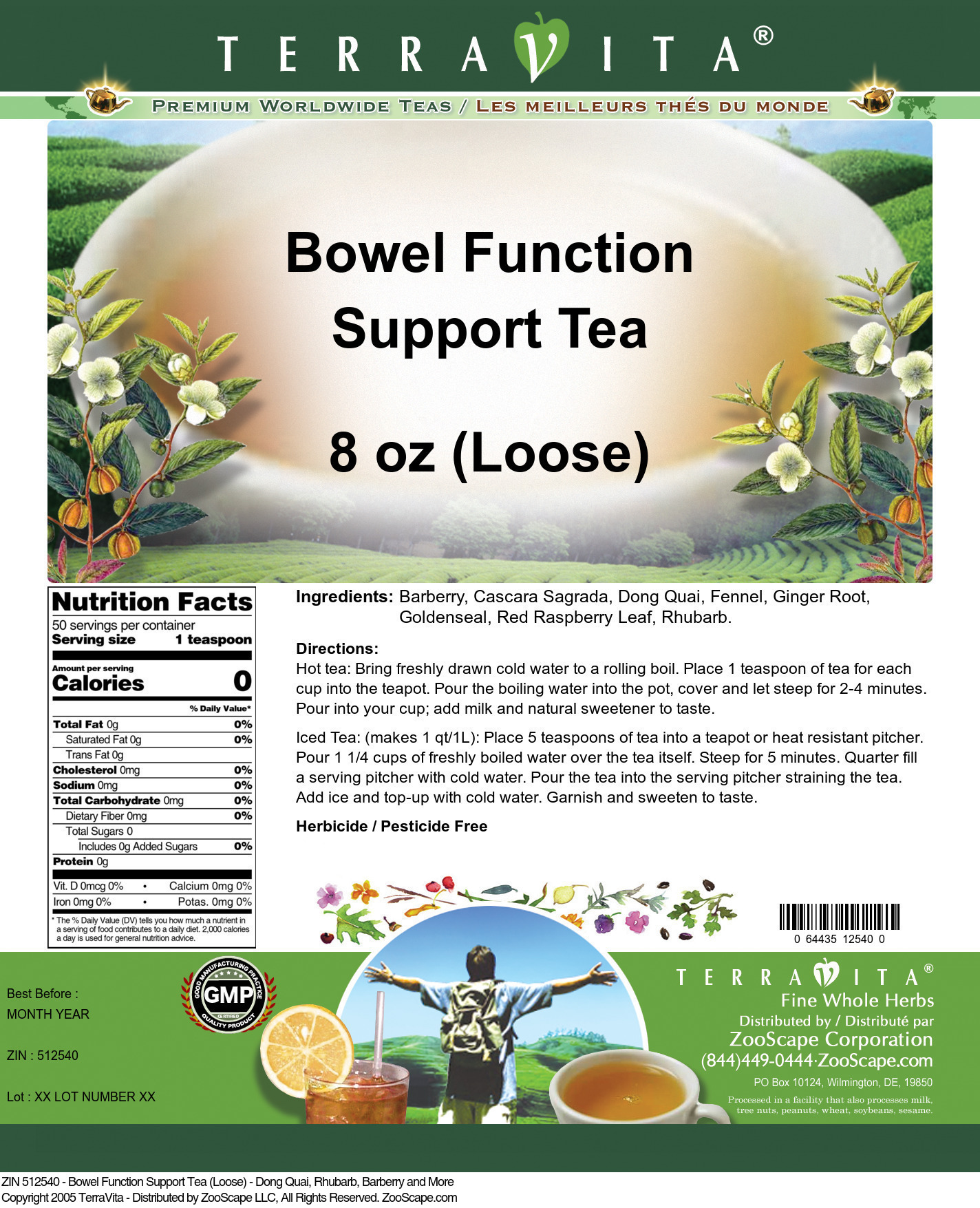 Bowel Function Support Tea (Loose) - Dong Quai, Rhubarb, Barberry and More