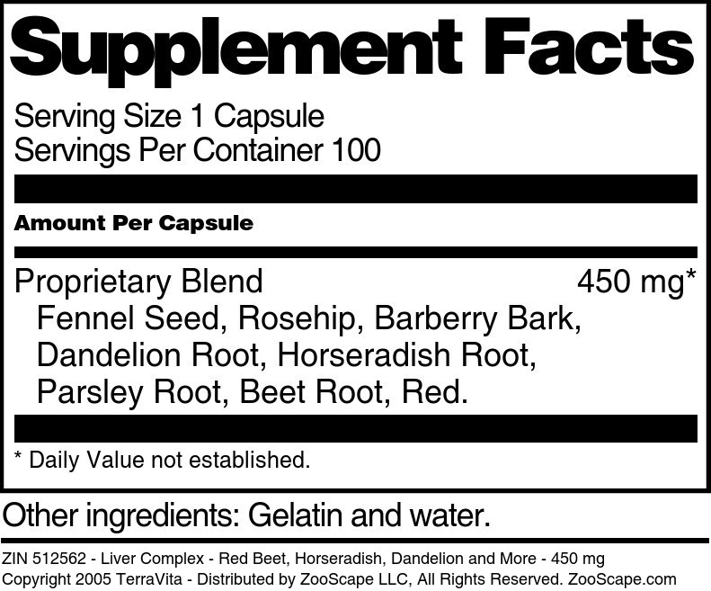 Liver Complex - Red Beet, Horseradish, Dandelion and More - 450 mg