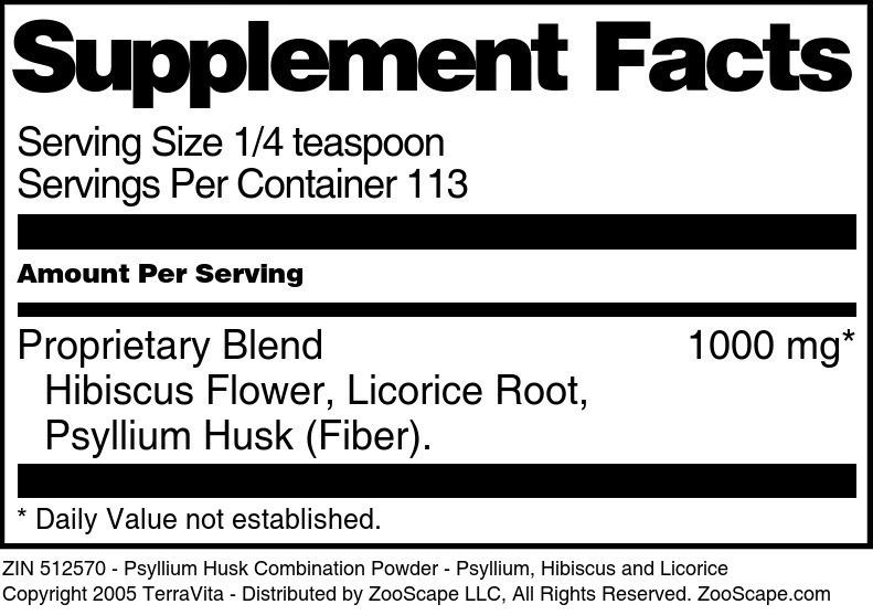 Psyllium Husk Combination Powder - Psyllium, Hibiscus and Licorice