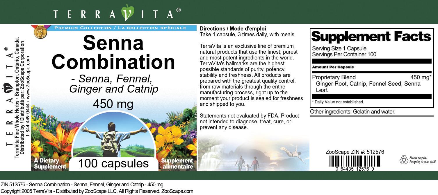 Senna Combination - Senna, Fennel, Ginger and Catnip - 450 mg