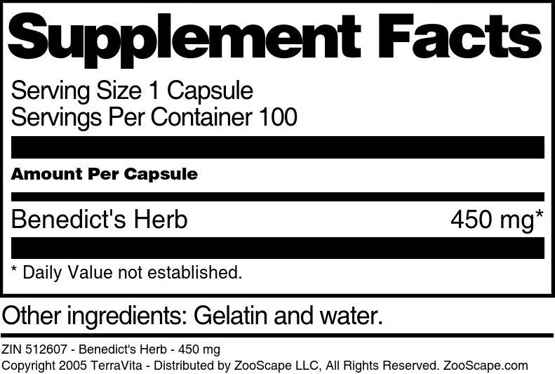 Benedict's Herb - 450 mg