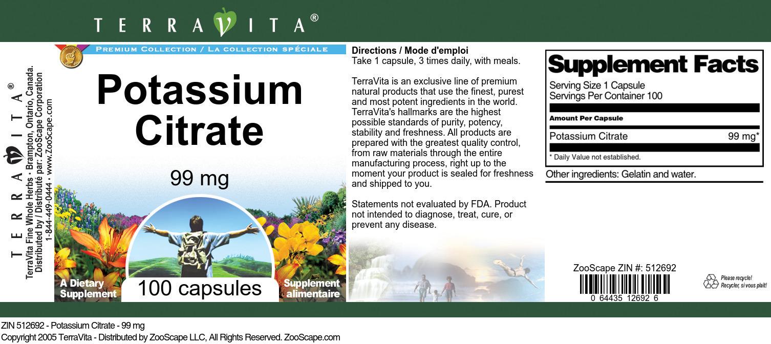 Potassium Citrate - 99 mg