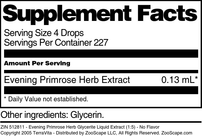 Evening Primrose Herb Glycerite Liquid Extract (1:5)