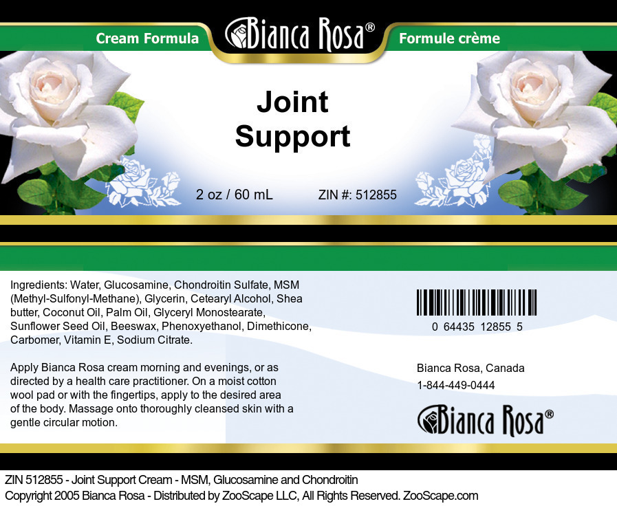 Joint Support Cream - MSM, Glucosamine and Chondroitin