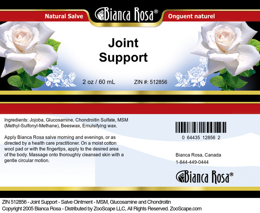 Joint Support - Salve Ointment - MSM, Glucosamine and Chondroitin