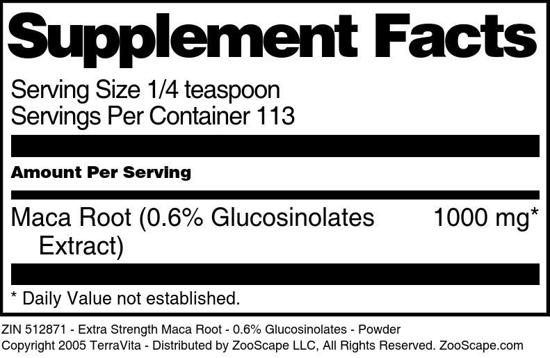 Extra Strength Maca Root - 0.6% Glucosinolates - Powder