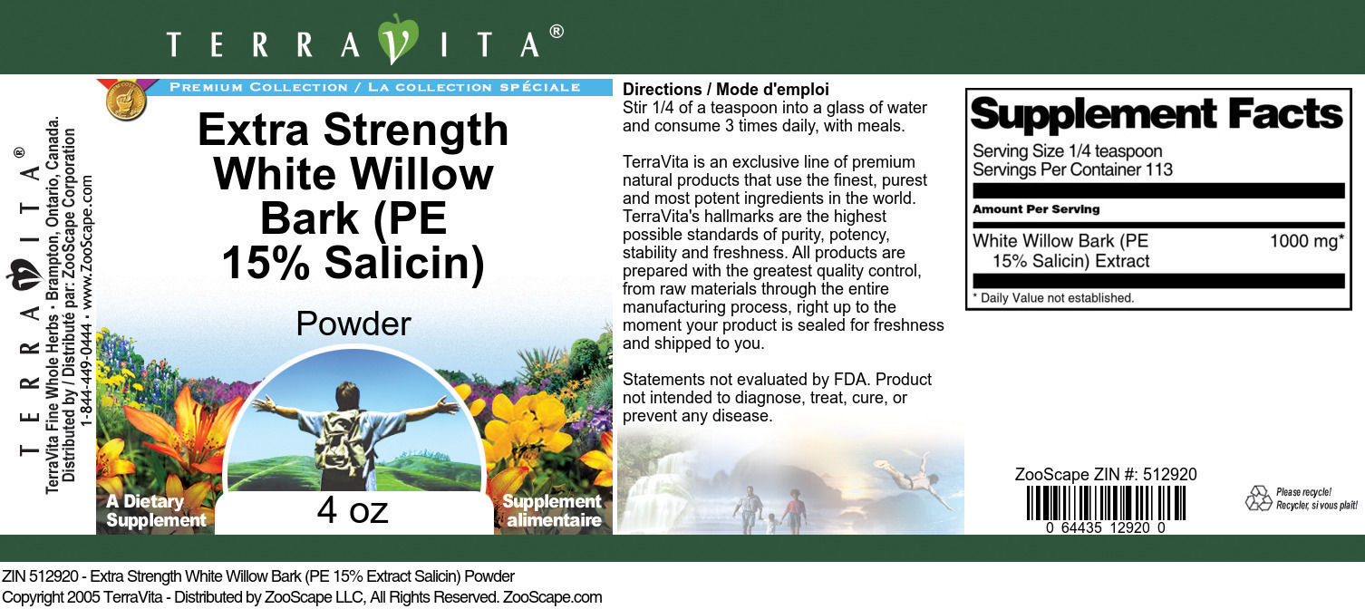 Extra Strength White Willow Bark (PE 15% Salicin) Powder