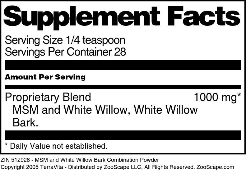 MSM and White Willow Bark Combination Powder