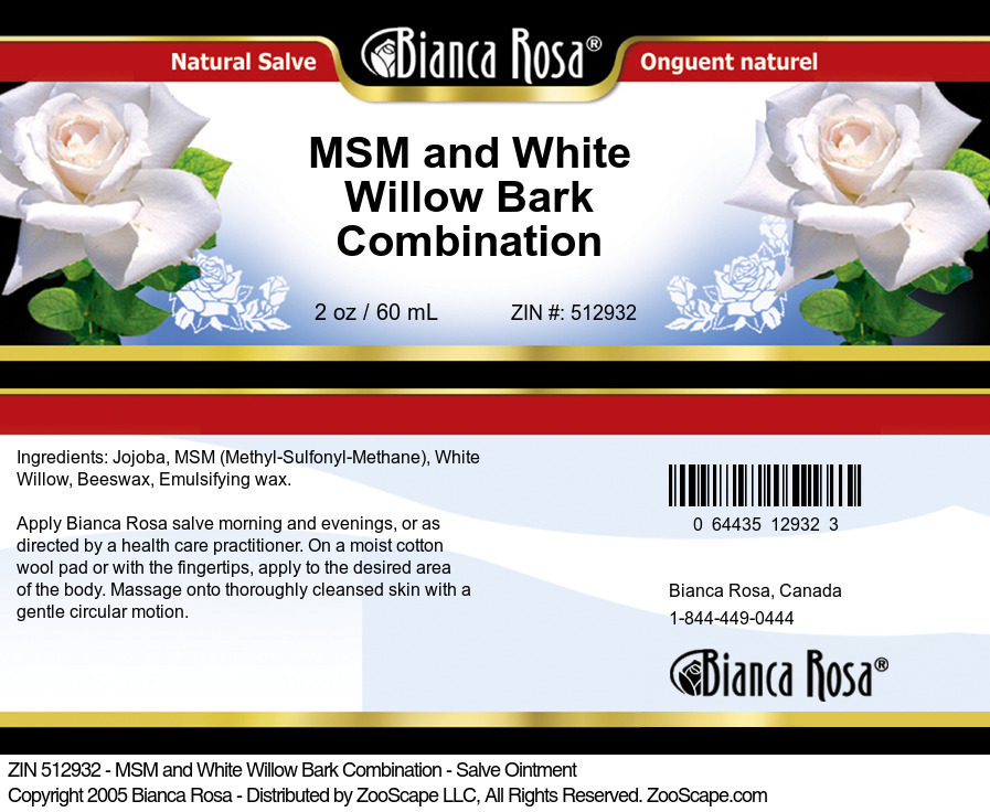 MSM and White Willow Bark Combination - Salve Ointment