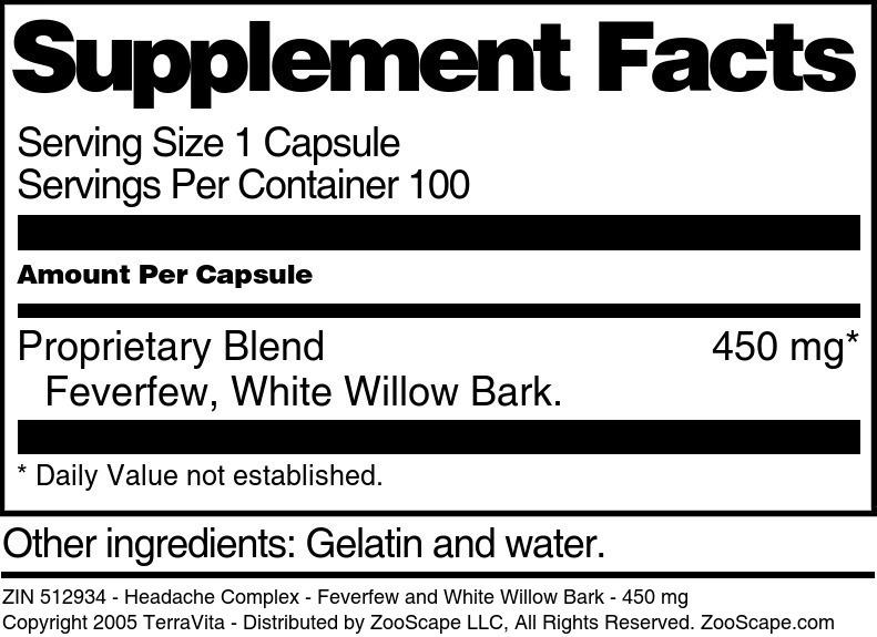 Headache Complex - Feverfew and White Willow Bark - 450 mg
