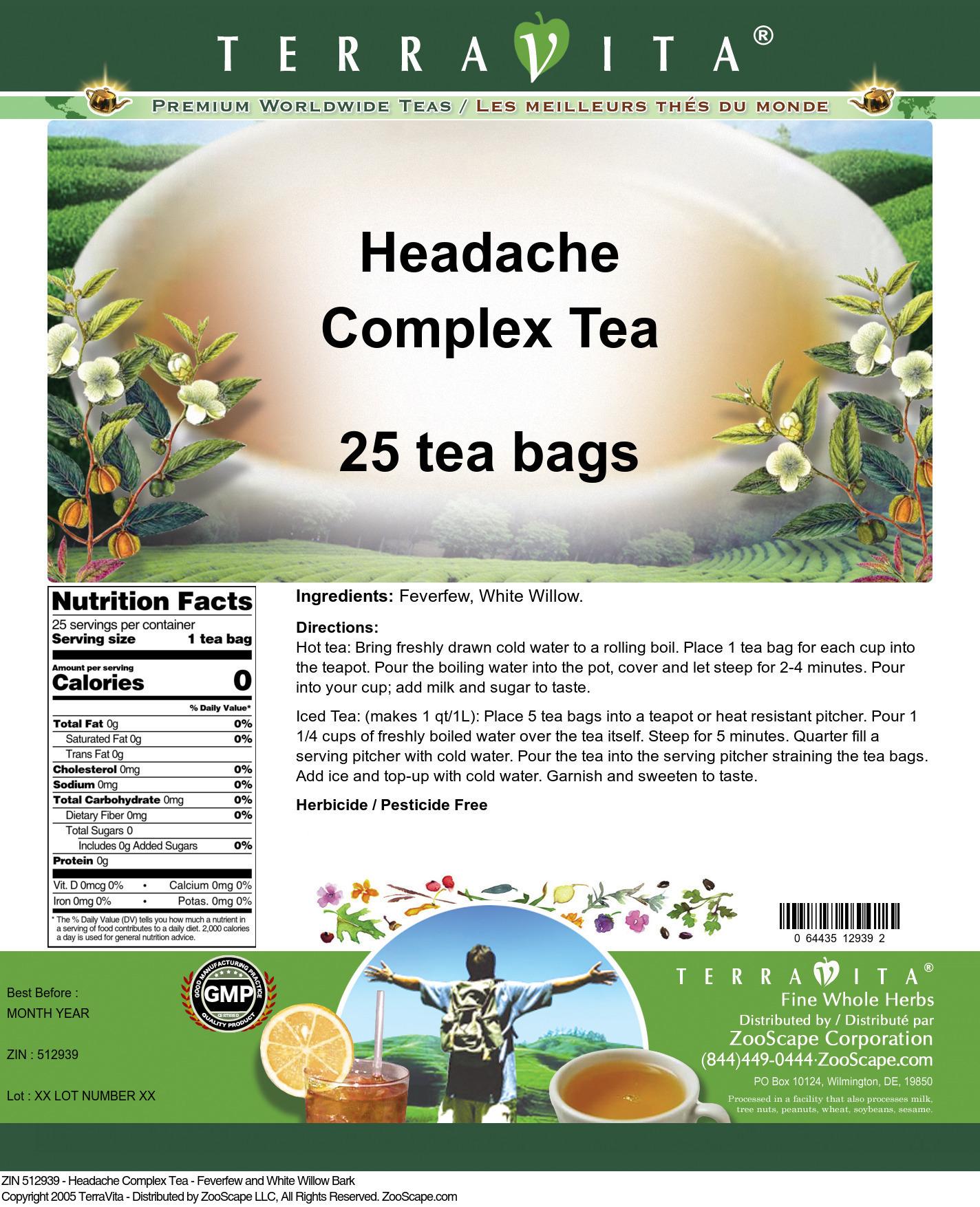 Headache Complex Tea - Feverfew and White Willow Bark