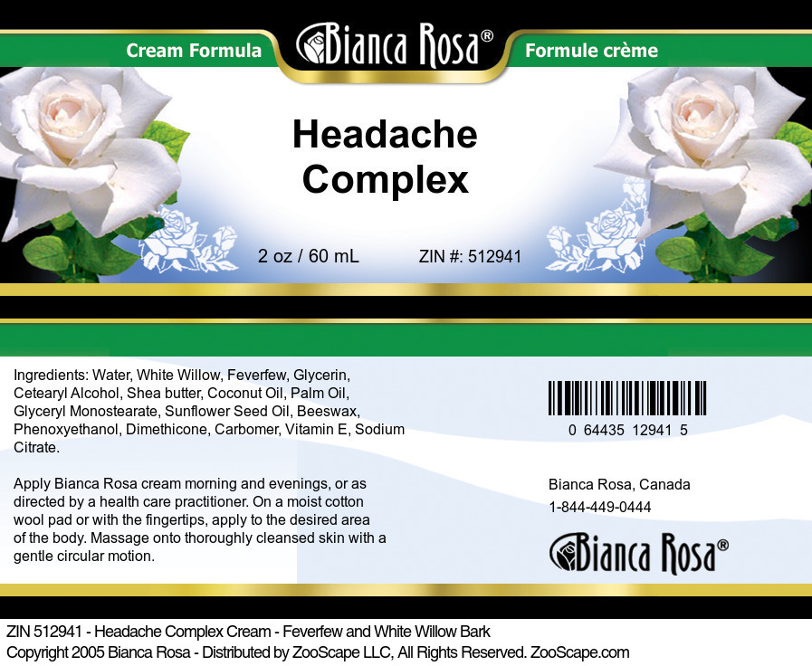 Headache Complex Cream - Feverfew and White Willow Bark