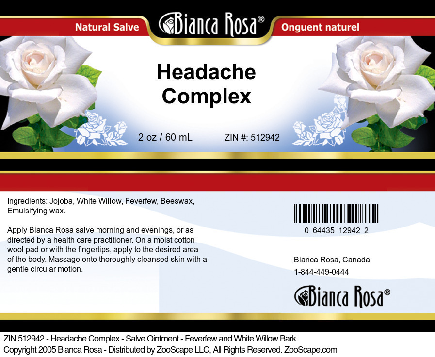 Headache Complex - Salve Ointment - Feverfew and White Willow Bark