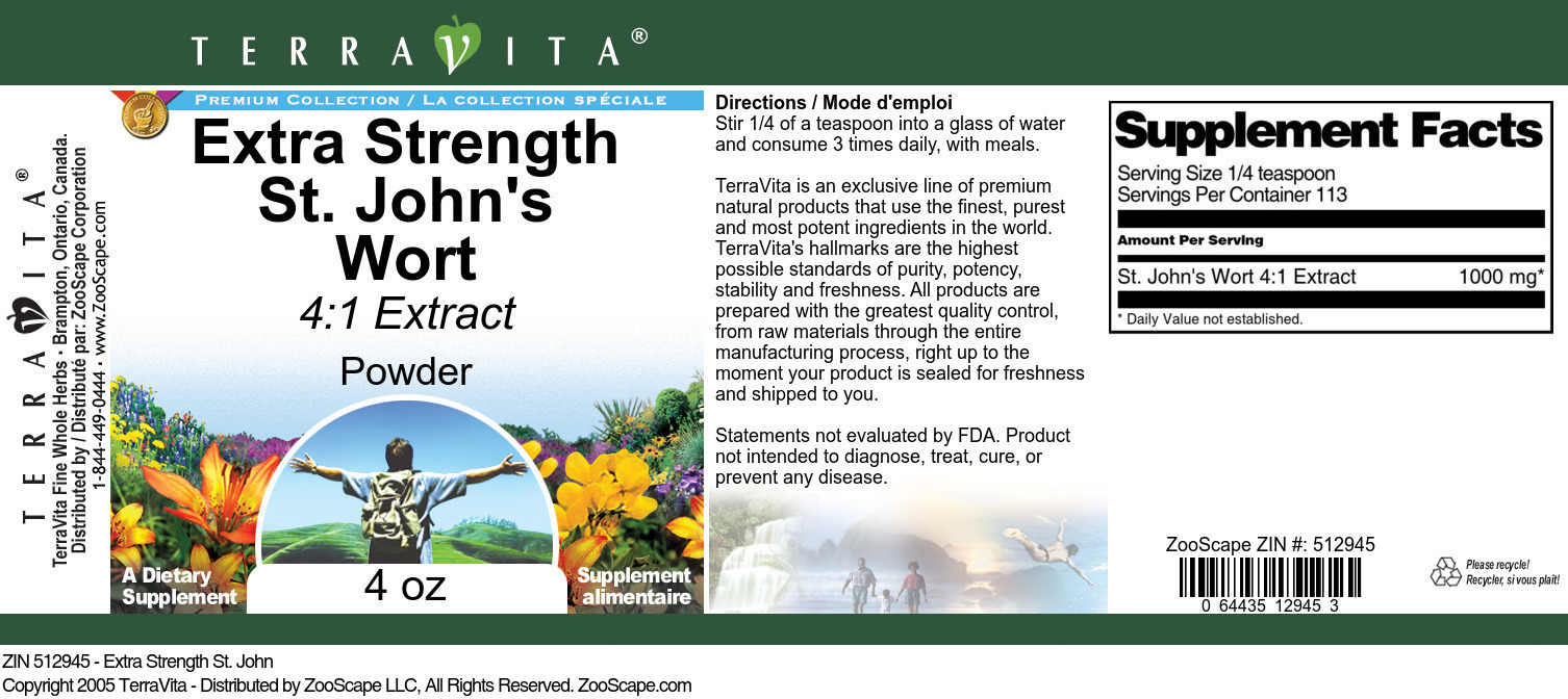 Extra Strength St. John's Wort 4:1 Extract Powder