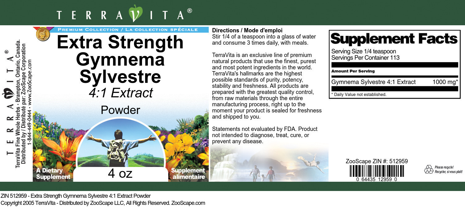 Extra Strength Gymnema Sylvestre 4:1 Extract Powder