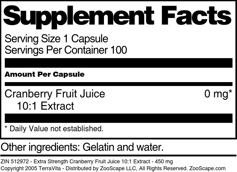 Extra Strength Cranberry Fruit Juice 10:1 Extract - 450 mg