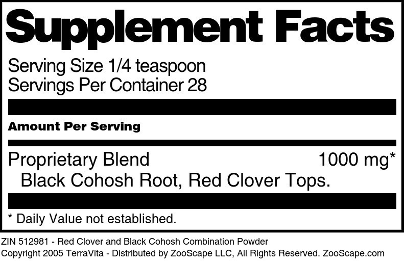 Red Clover and Black Cohosh Combination Powder
