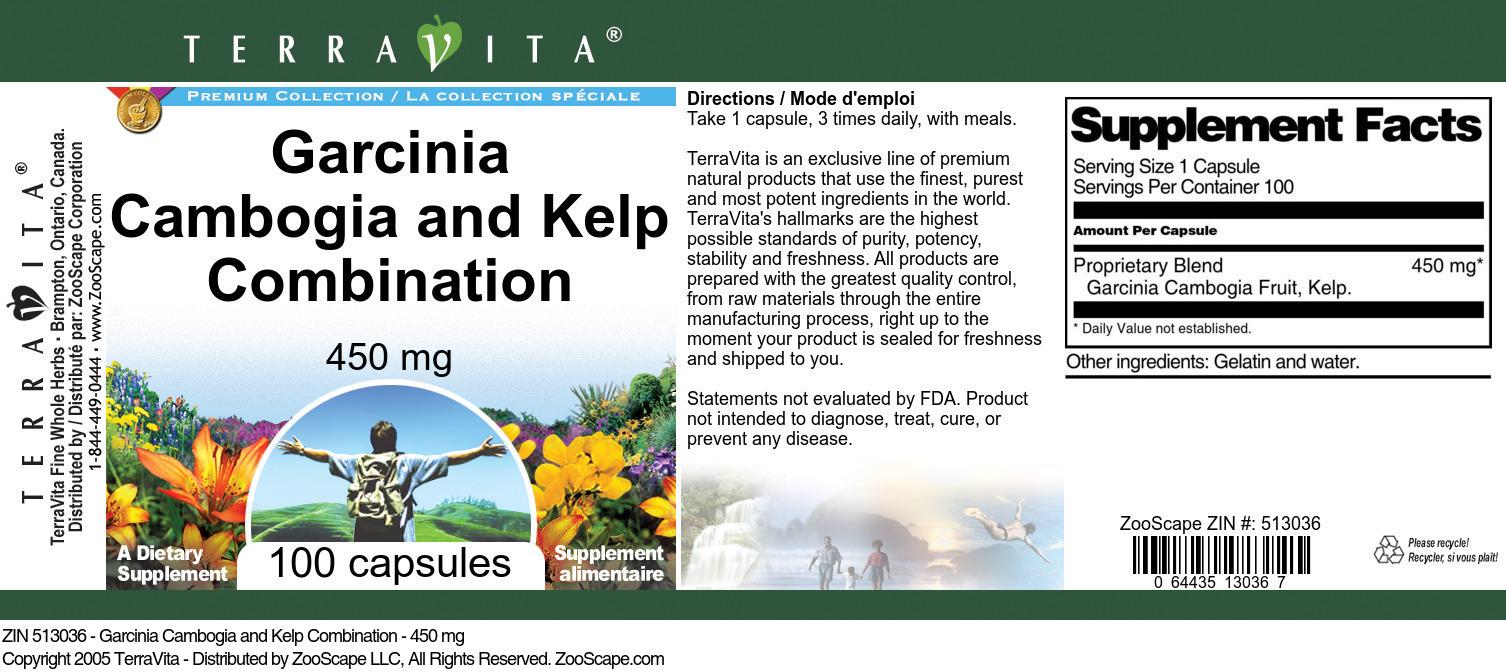 Garcinia Cambogia and Kelp Combination - 450 mg