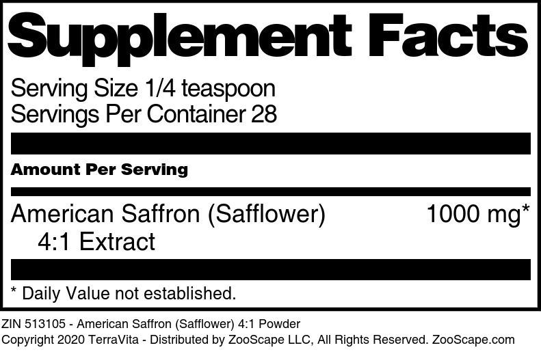American Saffron (Safflower) 4:1 Powder