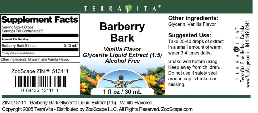Barberry Bark Glycerite Liquid Extract (1:5)