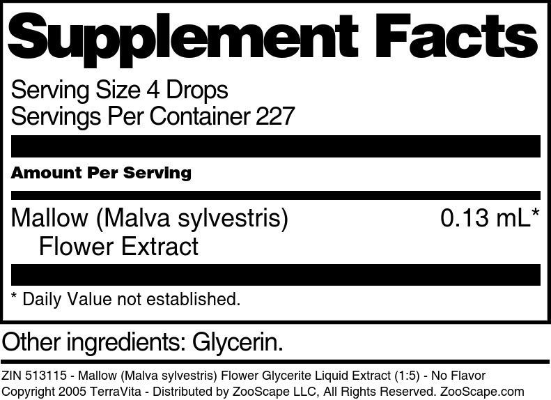 Mallow (Malva sylvestris) Flower Glycerite Liquid Extract (1:5)
