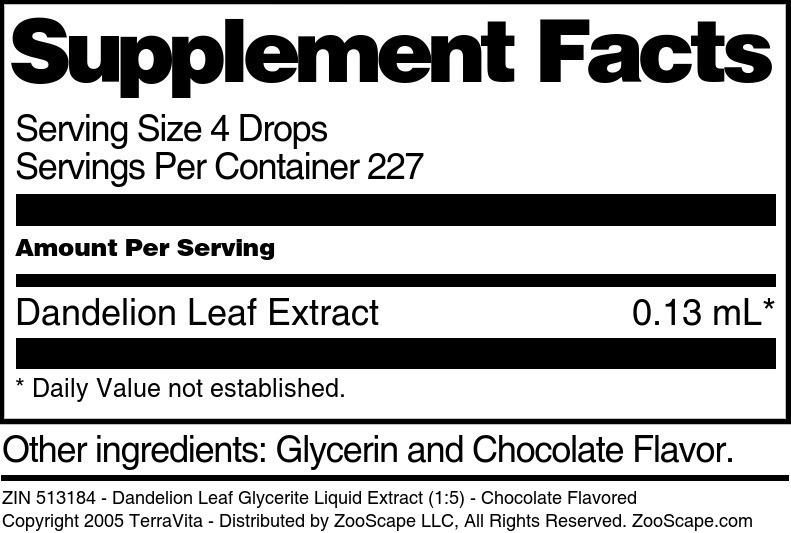 Dandelion Leaf Glycerite Liquid Extract (1:5)