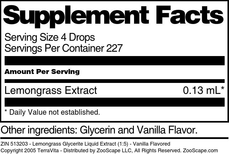Lemongrass Glycerite Liquid Extract (1:5)