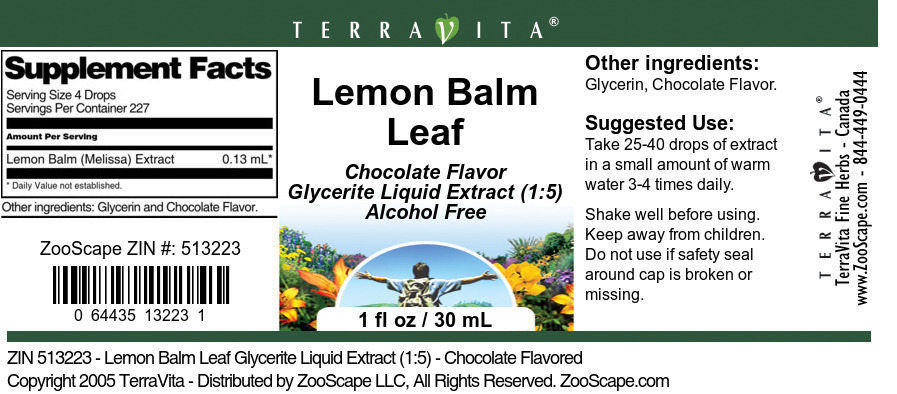 Lemon Balm Leaf Glycerite Liquid Extract (1:5)