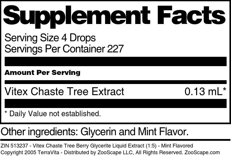 Vitex Chaste Tree Berry Glycerite Liquid Extract (1:5)