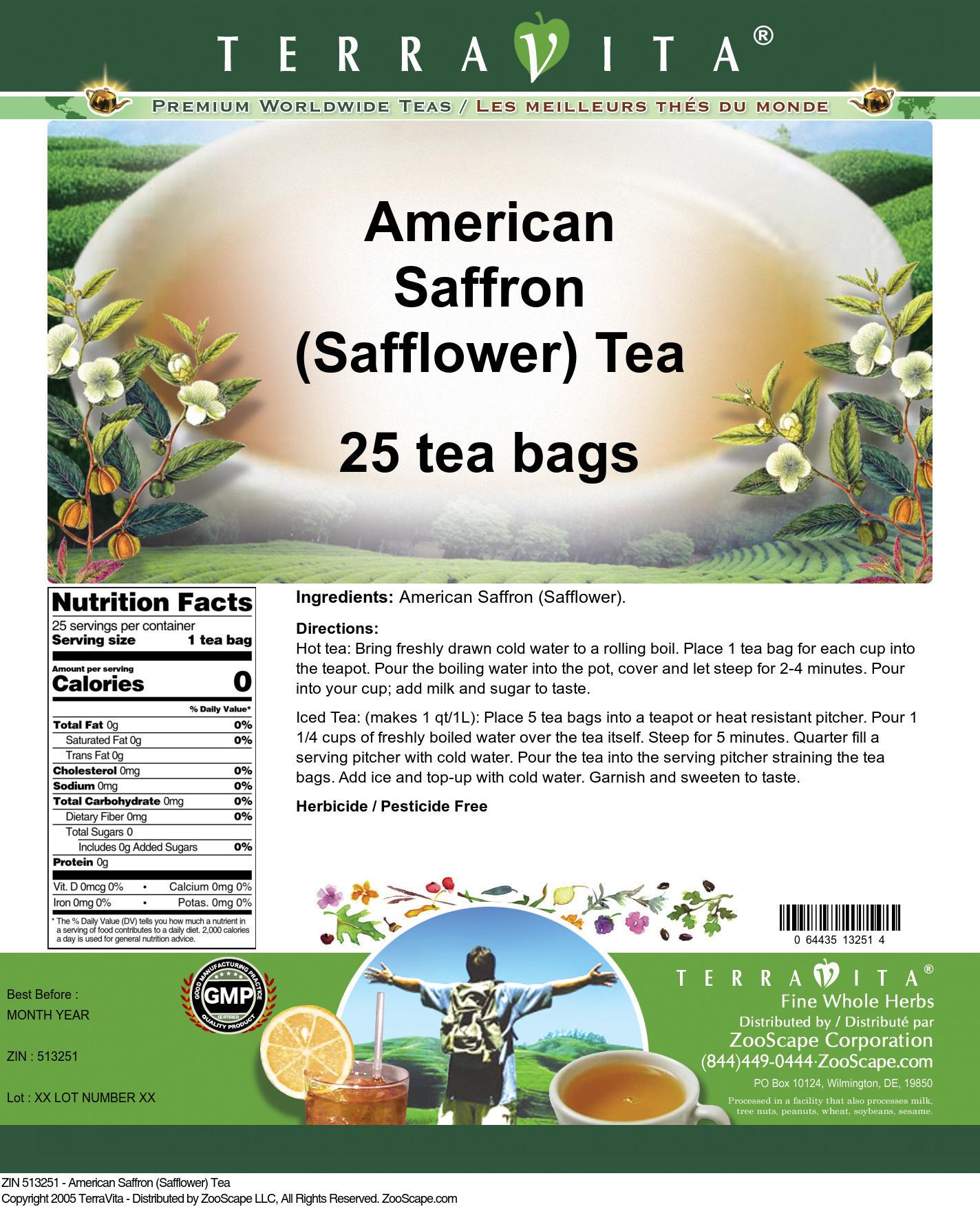 American Saffron (Safflower) Tea