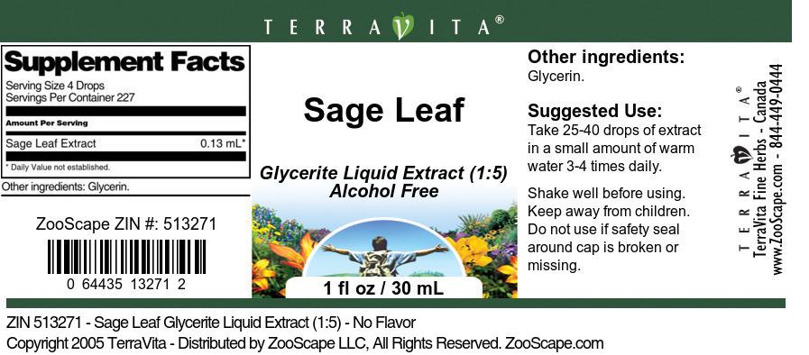 Sage Leaf Glycerite Liquid Extract (1:5)