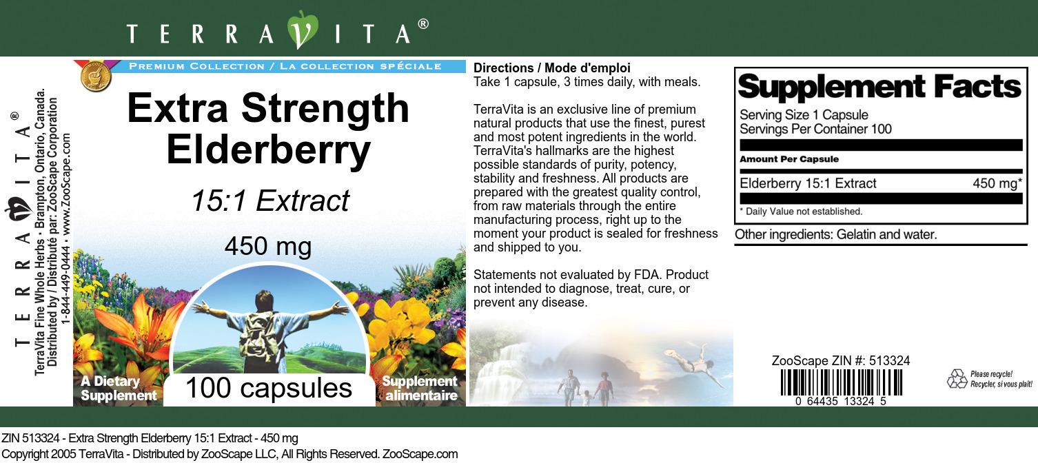 Extra Strength Elderberry 15:1 Extract - 450 mg