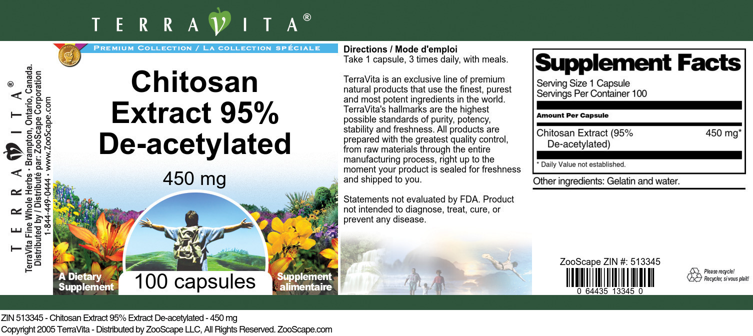 Chitosan Extract 95% De-acetylated - 450 mg