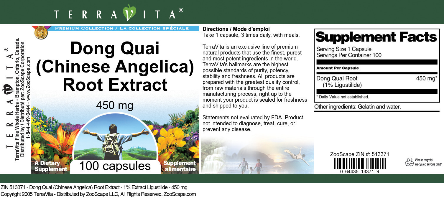 Dong Quai (Chinese Angelica) Root Extract - 1% Ligustilide - 450 mg